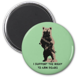 Bear arms Grizzly Bear 6 Cm Round Magnet