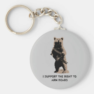 Bear arms Grizzly Bear Basic Round Button Key Ring