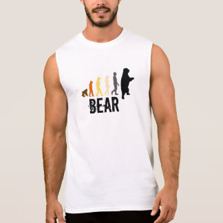 Bear Ascent of Man Bear Colors Black Paw Back Sleeveless T-shirt