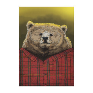 Bear at work canvas print