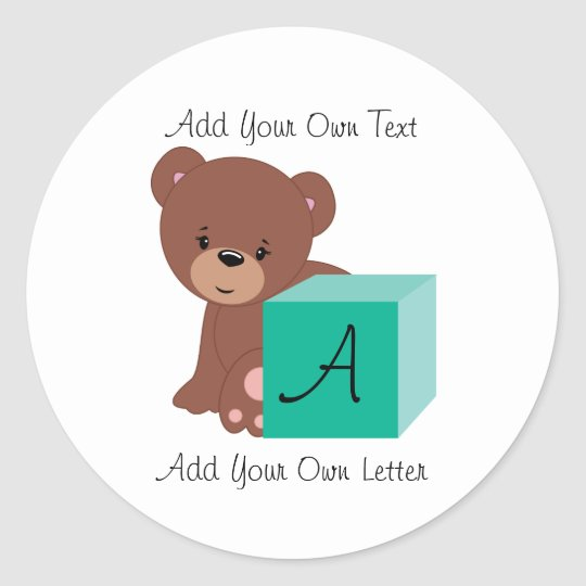 Bear Behind A Green Baby Block Classic Round