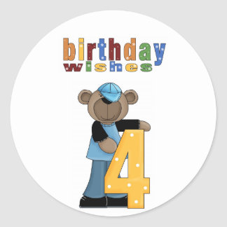 Bear Birthday Wishes 4 Party Stickers