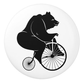 Bear Black Silhouette Riding a Bike Ceramic Knob