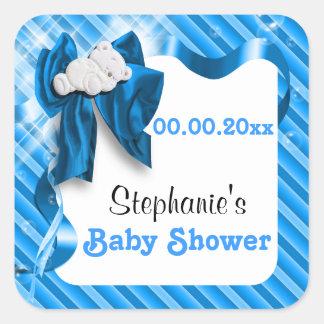 Bear boy baby shower cute announcement square sticker