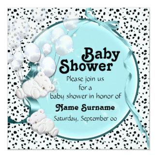 bear boy baby shower teddy 13 cm x 13 cm square invitation card