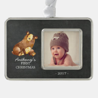 Bear Boys Baby's 1st Christmas Photo Ornament