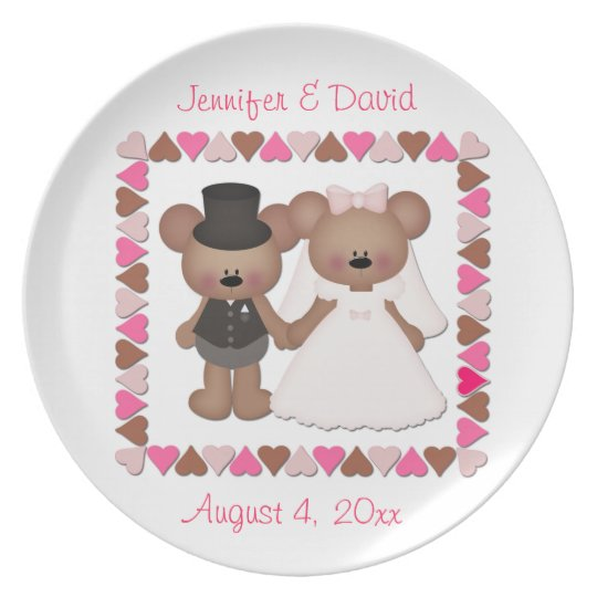 Bear Bride and Groom Plate
