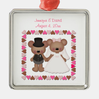 Bear Bride and Groom Silver-Colored Square Decoration
