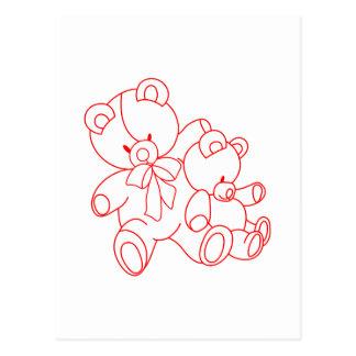 Bear Buddies Redwork Postcard