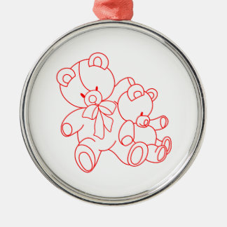 Bear Buddies Redwork Silver-Colored Round Decoration
