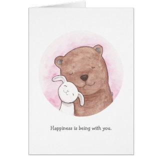 Bear & Bunny I love you Card Cute Happy Love Card