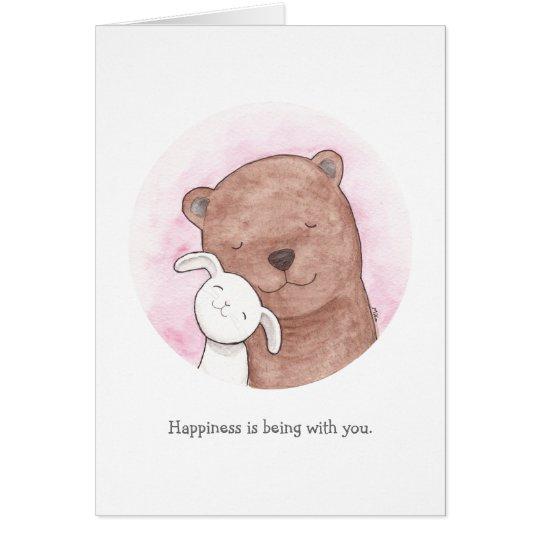 Bear & Bunny I love you Card Cute