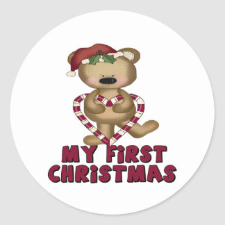Bear & Candy Cane Baby's First Christmas Round Sticker