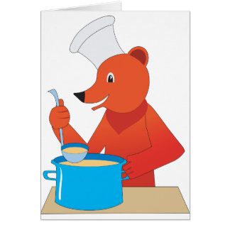 Bear Cooking Soup Greeting Cards