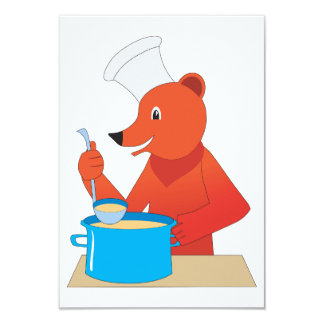 Bear Cooking Soup Invitations