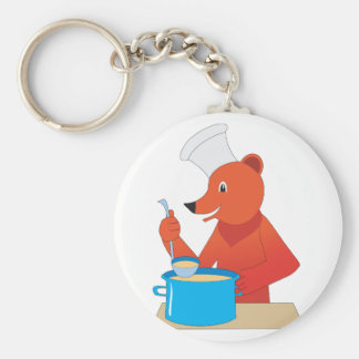 Bear Cooking Soup Keychain
