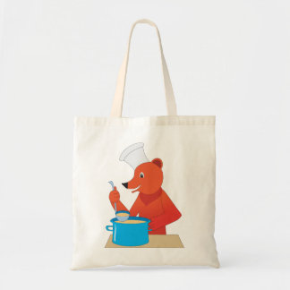 Bear Cooking Soup Tote Bag
