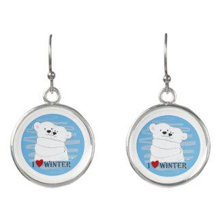 Bear Couple Polar Cute Love Winter Hug Girly Blue Earrings