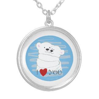 Bear Couple Polar Cute Love Winter Hug Girly Blue Silver Plated Necklace