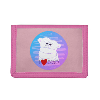 Bear Couple Polar Cute Love Winter Hug Girly Pink Trifold Wallet