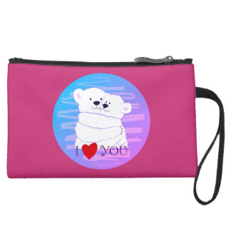 Bear Couple Polar Cute Love Winter Hug Pink Girly Suede Wristlet