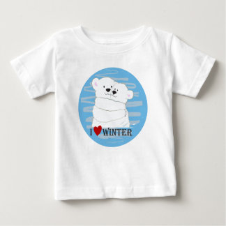 Bear Couple Polar Cute Love Winter Hug Snow Blue Baby T-Shirt