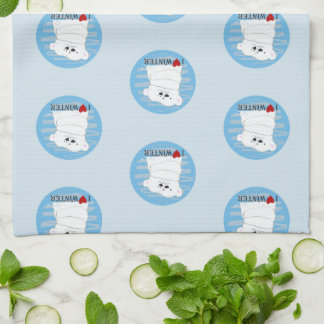 Bear Couple Polar Cute Love Winter Hug Snow Blue Tea Towel