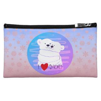 Bear Couple Polar Cute Love Winter Hug Snow Pink Makeup Bag