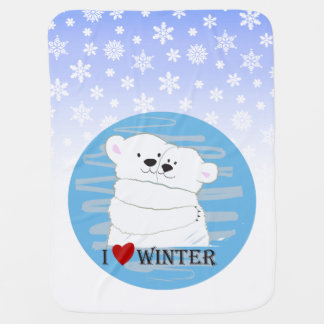 Bear Couple Polar Love Winter Hug Cute Baby Blue Baby Blanket