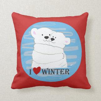 Bear Couple Polar White Love Winter Hug Cartoon Cushion