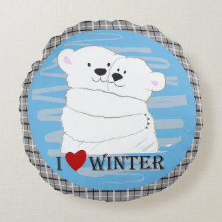 Bear Couple Polar White Love Winter Hug Cartoon Round Cushion