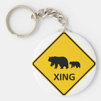 Bear Crossing Highway Sign Key Ring