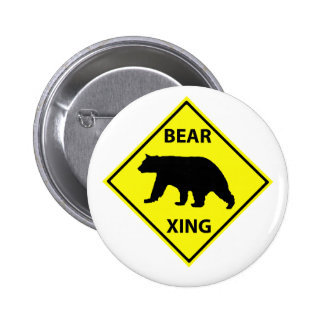 Bear Crossing Sign with Bear 6 Cm Round Badge