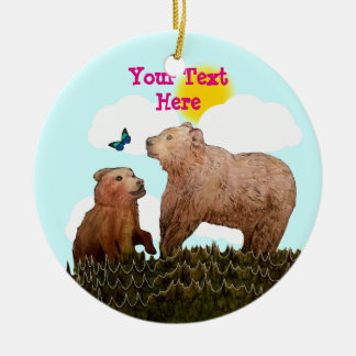 Bear Cub and Mother with Butterfly Christmas Ornament