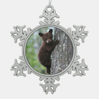 Bear Cub Climbing a Tree Pewter Snowflake Decoration