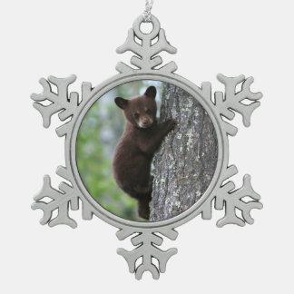 Bear Cub Climbing a Tree Snowflake Pewter Christmas Ornament
