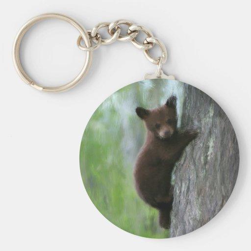 Bear cub in Tree. Keychain