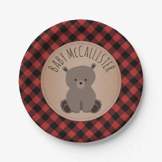 Bear Cub Lumberjack Plaid Baby Shower 7 Inch Paper Plate
