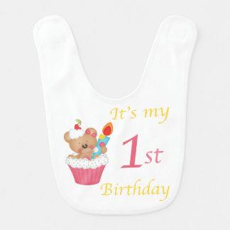 Bear Cupcake 1st Birthday Bib