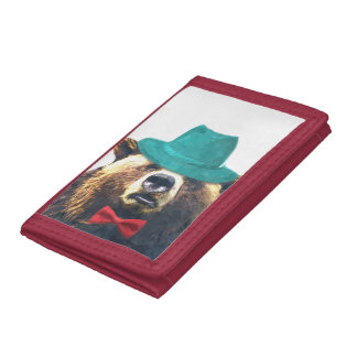 Bear cute and funny animal kids children tri-fold wallets