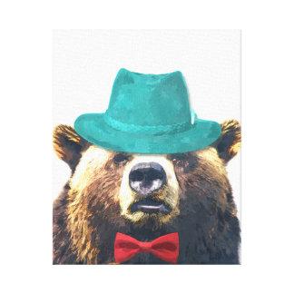 Bear cute funny woodland animal nursery kids room canvas print