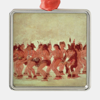 Bear Dance Silver-Colored Square Decoration