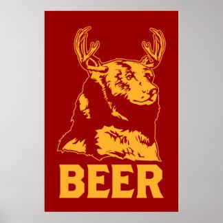 Bear + Deer = Beer Poster