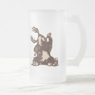 Bear, deer, drunken bear? frosted glass beer mug