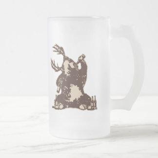 Bear, deer, drunken bear? frosted glass mug