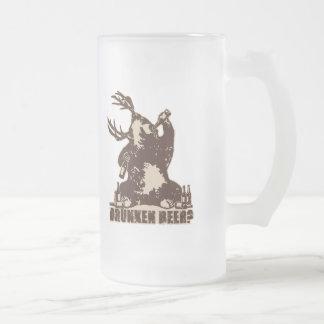 Bear, deer, drunken beer? frosted glass beer mug