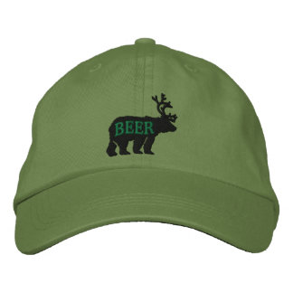 Bear Deer or Beer Embossed Embroidered Statement Embroidered Baseball Caps
