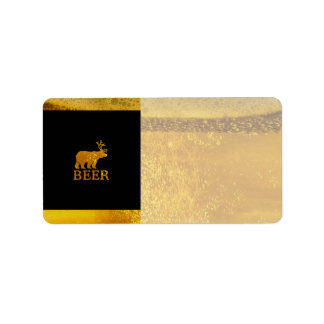 Bear Deer or Beer Silhouette Graphic Address Label