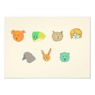 Bear dog cat rabbit fish human bird - 7 faces 13 cm x 18 cm invitation card