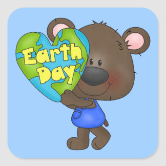 Bear Earth Day Square Sticker